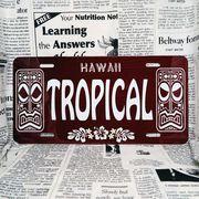 好きな文字にできるアメリカナンバープレート(大・US車用サイズ)ハワイ・ティキ木目