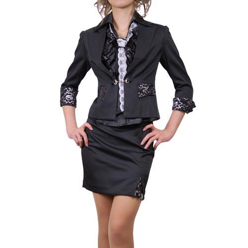 ラメレースフリルシャツ&ネクタイ付きスーツ