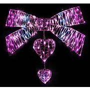 クリスマスイルミネーション LEDクリスタルデコレーションハートリボン