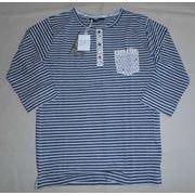 マリンボーダーヘンリー 碇別布ポケット付 スラブミックス7分袖Tシャツ