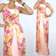 花柄プリント 上品ロングドレス