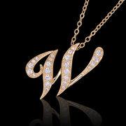 aネックレス≪W≫ K18 コーティング イニシャルネックレス   ゴールド ホワイトゴールド ピンクゴールド