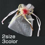 【即納】【包装】3色2サイズ 50枚セット!コサージュ付オーガンジー巾着袋[ihb0240][ihb0241]