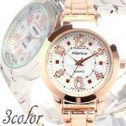 日本製ムーブメント シンプル3針ピンクゴールドにシェル文字盤 小さめメタルベルト AV017 レディース腕時計