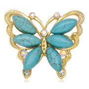 ピンブローチ 蝶 手作り 動物 バタフライ トルコ石 ターコイズ 昆虫 ジルコニア ハンドメイド
