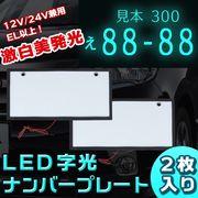 12V/24V兼用 EL以上!激白美発光 LED 字光 ナンバープレート2枚 超薄型 防水 DI