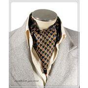 エレガント袋縫い幾何学柄メンズ用100%シルクスカーフ 10129d