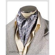 袋縫いエレガントなペーズリー柄入りメンズ用100%シルクスカーフ 10132b