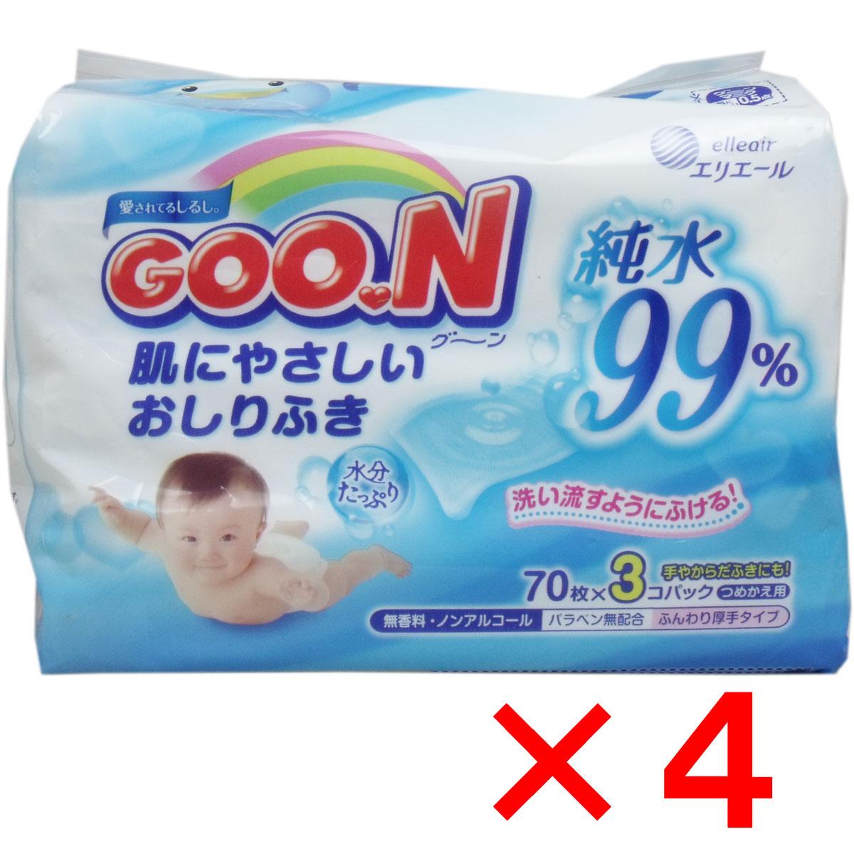 [12月25日まで特価]グーン 肌にやさしいおしりふき 詰替用 70枚×12個パック