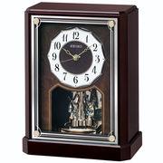 SEIKO セイコー 置き時計 電波 アナログ 回転飾り 木枠 濃茶木地 BY243B