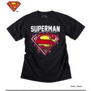 ★定番のSUPERMANマーク!★グラフィカルにアレンジされたフロッキープリントのスーパーマンTシャツ★