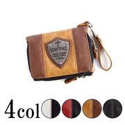 プレート付き ツートンカラーPU 切替 2つ折り 財布