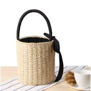 草編みビーチトートバッグ カゴバッグ 麦わらバック ハンドバッグ ビーチバッグ