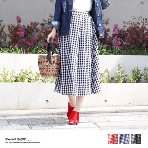 【2018春夏新作】ギンガムチェックフレアスカート/ロングスカート