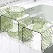 モダンな市松模様の浴用品 『チェッカー』 グリーン色