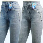 【初秋物】レディース レギンス 7分丈 真珠付きジーンズ柄プリント レギンス 10本セット(5型)