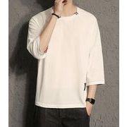 春夏新作メンズTシャツ トップス 大きいサイズ おしゃれ ゆったり♪ブラック/ホワイト2色