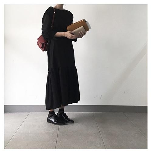 袖チュールロングワンピース1110191-0018