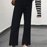 韓国 スタイル ファッション レディース 2018 韓国風 不規則 デニム パンツ ジーンズ