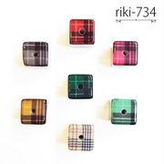 キューブ型 チェック柄【riki-734】 ヴィンテージ風 モダンビーズ デザイン アクリル ハンドメイド