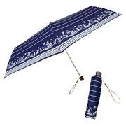 [55cm]折りたたみ傘 耐風仕様 スーパーミニ 婦人 レディース マリンキャット柄 猫柄