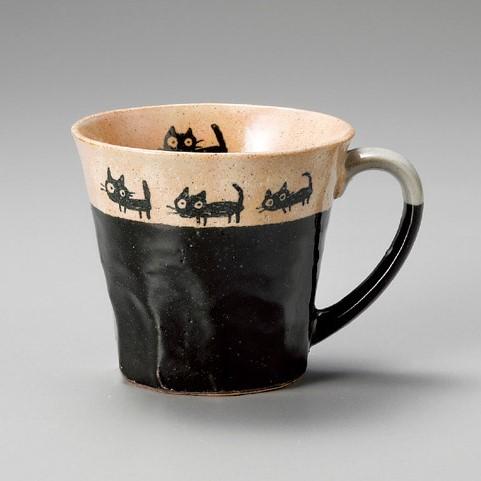 猫好きなあなたへ♪■【マグカップ】カネ仁黒ネコの散歩マグ黒