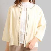 【即納】ィリル】きれいめシリーズ 刺繍ライン裾タックデザインジャケット0061-0402/01-03