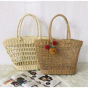 バッグ かごバッグ 透かし編み ビーチ 透かし編み 純色 韓国ファッション