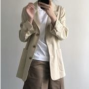 YUNOHAMI テーラードジャケット 淡色系ユニセックス オフィス カジュアル レディース トップス女性 通勤