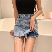 ファッション 新しいデザイン 何でも似合う 春夏季 韓国風 エッジ裂かれ ジーンズ スカ