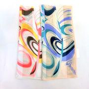 【日本製】【スカーフ】シルクサテンストライプ・スイング柄日本製ロングスカーフ