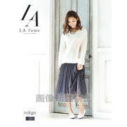 【LAfume】重ねメッシュレースミモレ丈 デニム風フレアーロングスカート