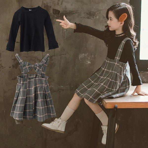 2019秋新作韓国子供服 2点セット長袖 Tシャツ + デニム サロペットパンツ