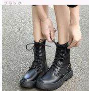 フラッツ 高い靴 ひもあり ショートブーツ 純粋な黒 フラット マーティンブーツ オート