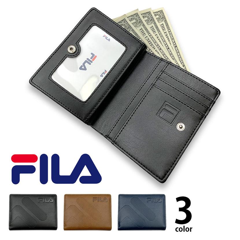 全3色 FILA(フィラ)ドットロゴ型押し ファスナー&パスケース付き 2つ折り財布 ショート ウォレット