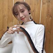 着やせ ヘッジ 袖 口 複数色 ボトムシャツ 気質 韓国風 味 若いもの 単一色 小型高