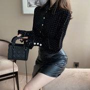 新しいデザイン 秋 女性服 何でも似合う ポルカドット ベルベット ランタンスリーブシャ