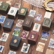 格安☆紙物 アンティーク ポストカード 感謝状◆クリスマス/誕生日/祝日通用 ミニ 切手植物天使100枚入