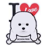 【ステッカー】ビションフリーゼ 防水ステッカー I LOVE DOG