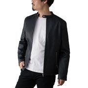 【2020春夏新作】 ライダースジャケット メンズ シングル フェイクレザー PU レザータッチ ジャケット