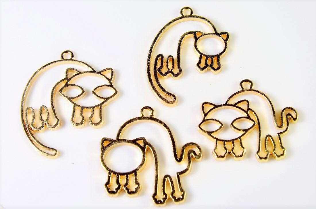 【猫雑貨】アンティークパーツ 猫チャーム トレンドパーツ デコパーツ レジンフレーム レジン空枠