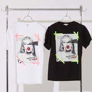 【2020春夏新作】ガールズフォト 蛍光プリント 半袖 Tシャツ