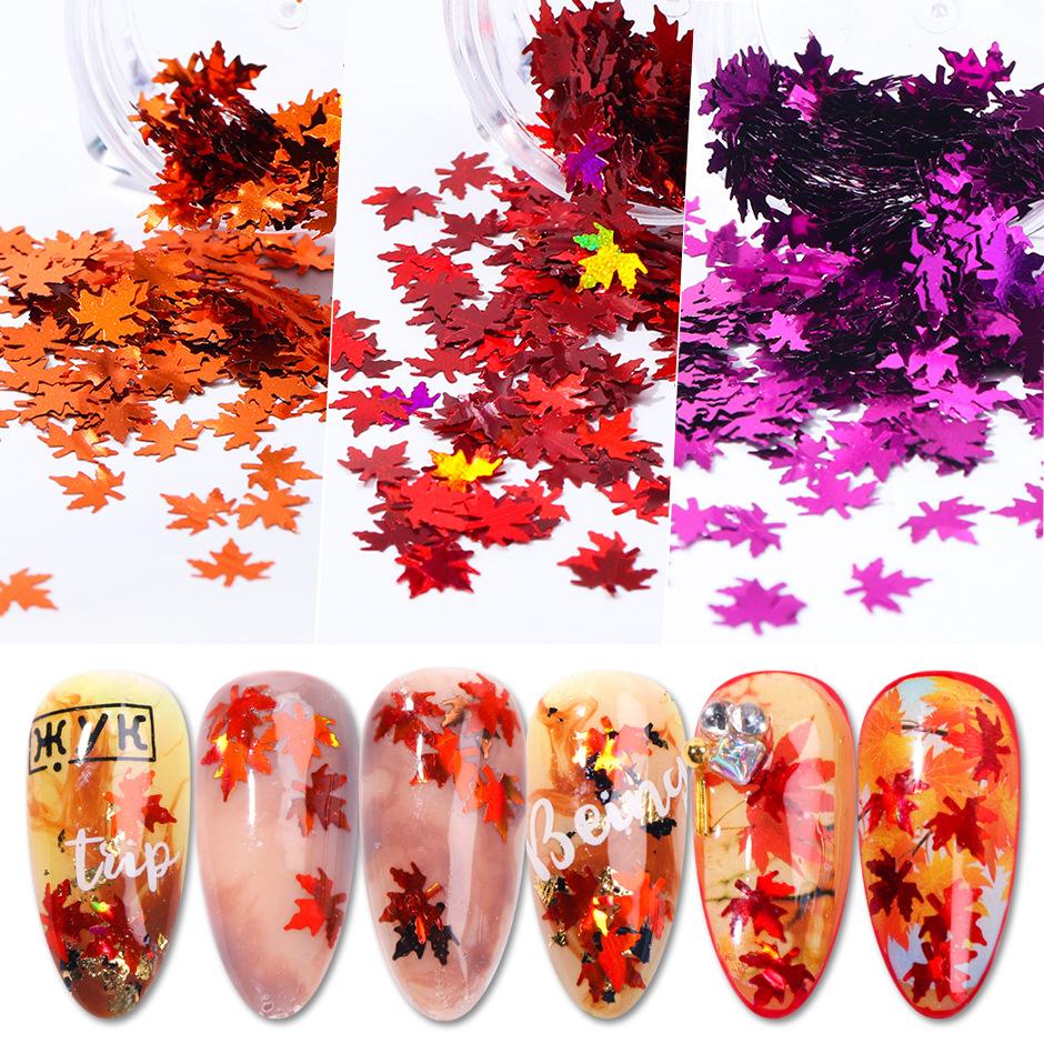 ジェルネイルの埋め込みに★全14色★紅葉 レジンパーツホログラム 秋の雰囲気