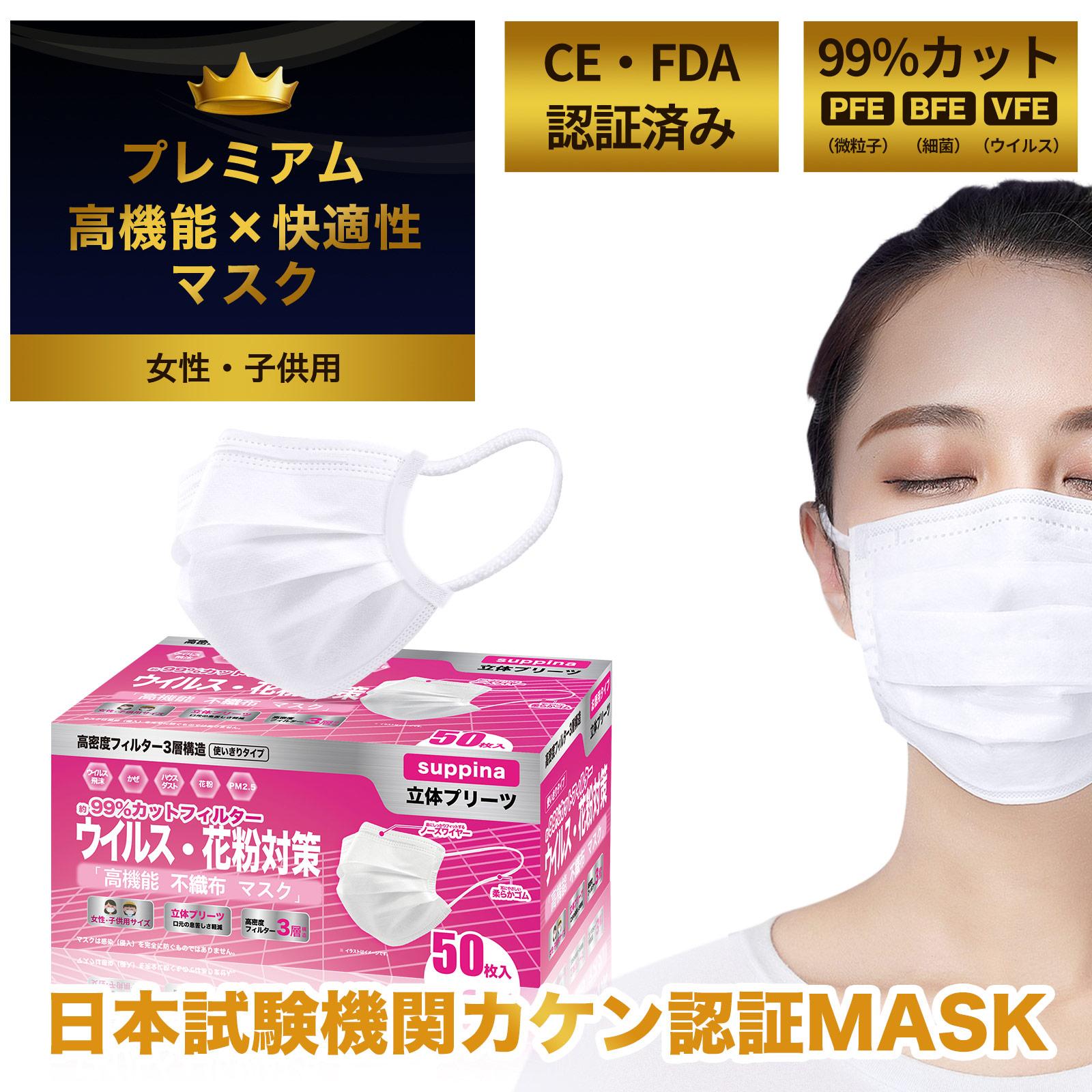 日本機構検査済 suppina 99%CUT マスク 女性・子供用 小さめサイズ  高機能マスク お徳用 50枚入 MASK