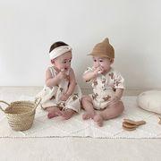 韓国人気新作 ★子供服★ 小さなクマ ベビー服 半袖 トップス スーツ ドレス 子供服