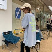 韓国 バックプリント サイドボタン オーバーサイズ ロングTシャツ
