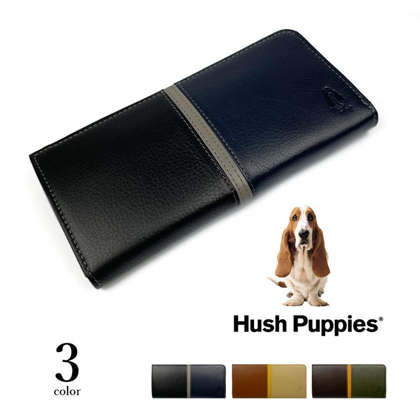 全3色 Hush Puppies ハッシュパピー リアルレザー トリコロールカラー L字ファスナー 長財布