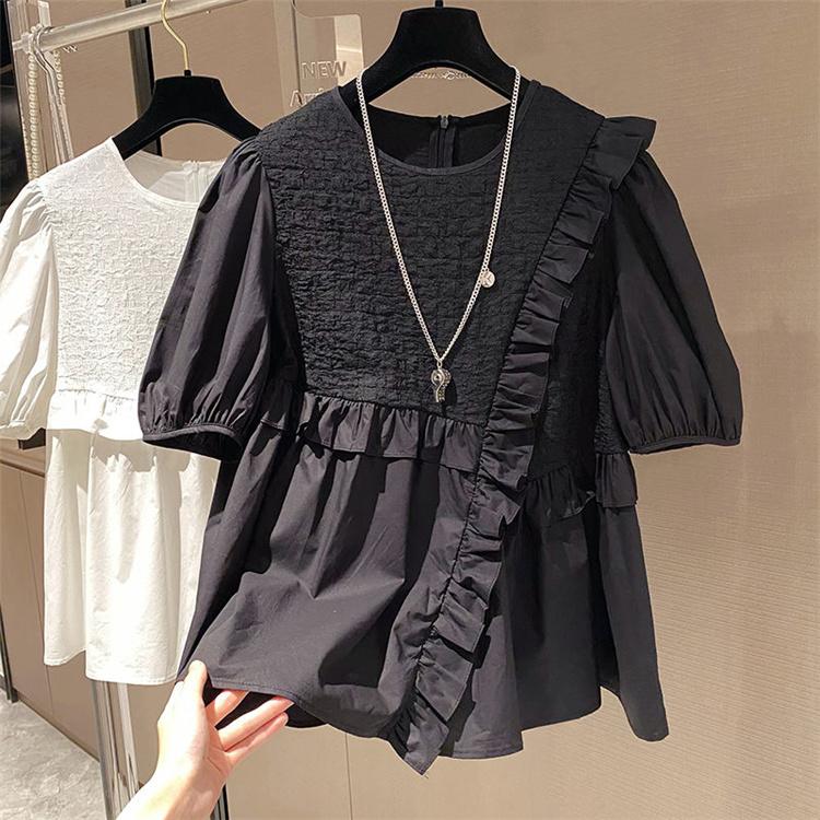 安いのに高く見える ロマンティック ゆったりする 半袖 気質 百掛け 2021年新作 シフォン 縫付 フリル