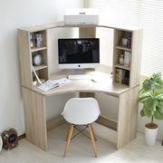 パソコンデスク コーナー 書棚付き オーク L字型 机 オーク 北欧風