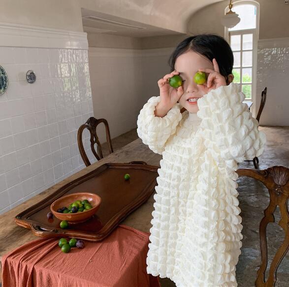 韓国風ワンピース 春秋 ワンピース 可愛い 韓国ファッション 無地 2色 お姫様 フリル 長袖